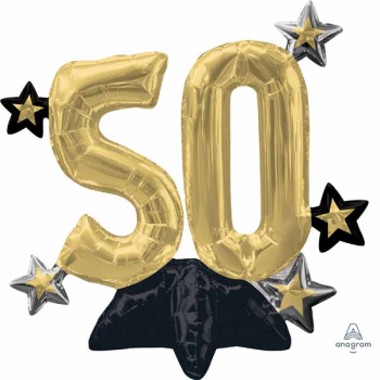 """Image de 24"""" TABLETOP - 50TH CELEBRATE  FOIL BALLOON - AIR FILLED"""