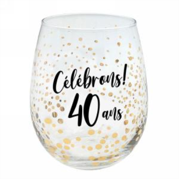 Picture of 40th - CÉLÉBRONS 40 ANS GOLD WINE GLASS