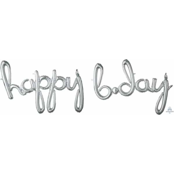 Picture of HAPPY BIRTHDAY SILVER SCRIPT MYLAR BALLOON BANNER - AIR FILLED