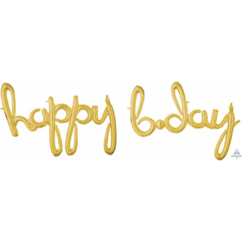 Picture of HAPPY BIRTHDAY GOLD SCRIPT MYLAR BALLOON BANNER - AIR FILLED