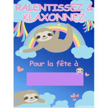 "Picture of LAWN YARD SIGN - ANY BIRTHDAY - SLOTH ""WRITE A NAME"" - FRENCH"