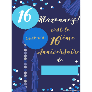 "Picture of 16th - LAWN YARD SIGN - BLUE 16 ""WRITE A NAME"" - FRENCH"