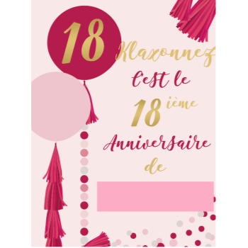 "Picture of 18th - LAWN YARD SIGN - PINK 18 ""WRITE A NAME"" - FRENCH"