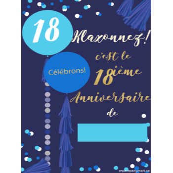"Picture of 18th - LAWN YARD SIGN - BLUE 18 ""WRITE A NAME"" - FRENCH"