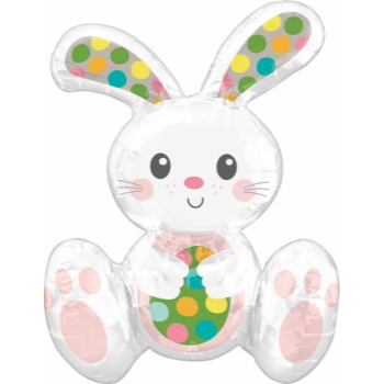 """Picture of 24"""" TABLETOP - SITTING POLKA DOT EASTER BUNNY FOIL BALLOON"""