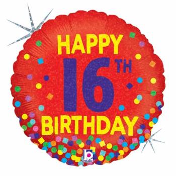 Image de 18'' FOIL - 16TH BIRTHDAY CONFETTI - HOLOGRAPHIC