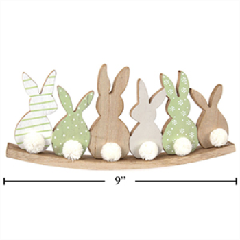 Picture of DECOR - BUNNIES WITH POMPOM - MDF TABLE TOP DECORATION