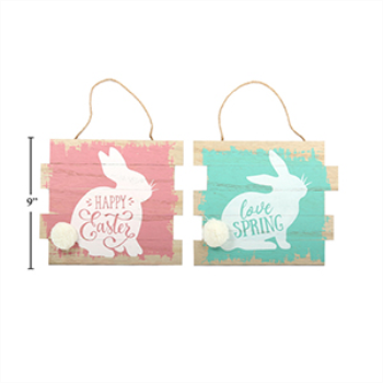 Picture of DECOR - EASTER WOODEN PLAQUE WITH BUNNY PRINT