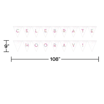 Picture of DECOR - IRIDESCENT PARTY BANNER - CELEBRATE - HOORAY