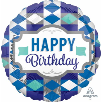 """Picture of 18"""" FOIL - HAPPY BIRTHDAY CHECKERED"""