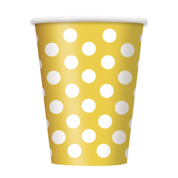 Picture of YELLOW DOTS  12OZ CUPS