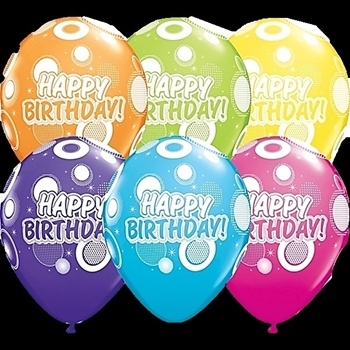 "Picture of HELIUM FILLED SINGLE 11"" BALLOON - PRINTED - HAPPY BIRTHDAY - BIG DOTS"