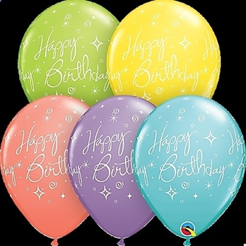 "Picture of HELIUM FILLED SINGLE 11"" BALLOON - PRINTED - HAPPY BIRTHDAY - PASTEL ASSORTED"