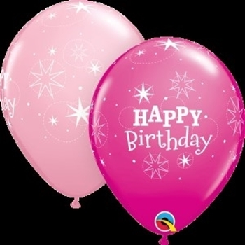 "Picture of HELIUM FILLED SINGLE 11"" BALLOON - PRINTED - HAPPY BIRTHDAY - PINK TONES"