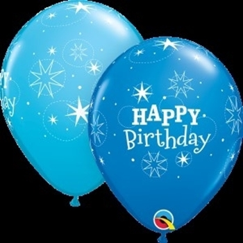"Picture of HELIUM FILLED SINGLE 11"" BALLOON - PRINTED - HAPPY BIRTHDAY - BLUE TONES"