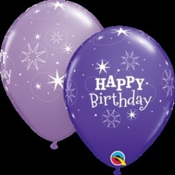 "Picture of HELIUM FILLED SINGLE 11"" BALLOON - PRINTED - HAPPY BIRTHDAY - PURPLE TONES"