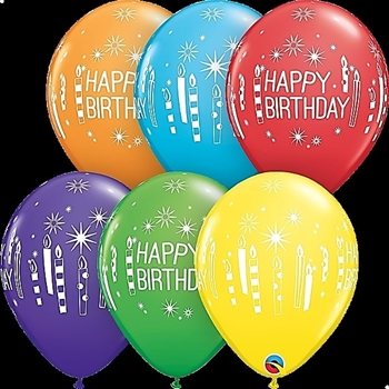 "Picture of HELIUM FILLED SINGLE 11"" BALLOON - PRINTED - HAPPY BIRTHDAY - CANDLES ASSORTED"