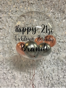 """Image de 1 - 3 LINES OF PERSONALIZED PRINT - ON CLEAR ORB WITH 5"""" INSIDE"""