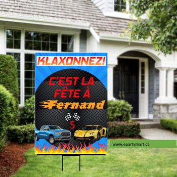 Picture of LAWN YARD SIGN - ANY BIRTHDAY - FAST CARS (HOT WHEELS INSPIRED) - PERSONALIZED
