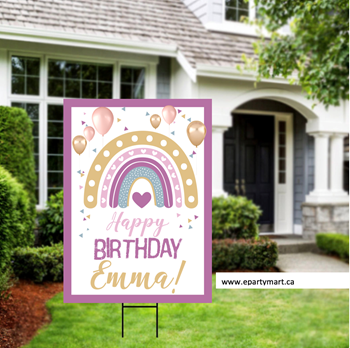 Picture of LAWN YARD SIGN - ANY BIRTHDAY - RAINBOW PERSONALIZE