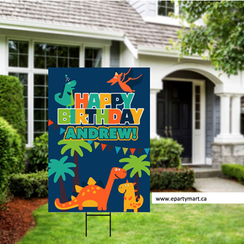 Picture of LAWN YARD SIGN - ANY BIRTHDAY - DINOSAUR PERSONALIZED