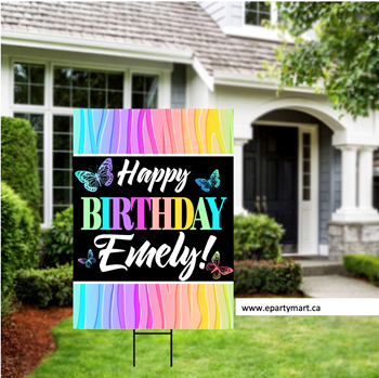 Picture of LAWN YARD SIGN - ANY BIRTHDAY - BUTTERFLY PERSONALIZE