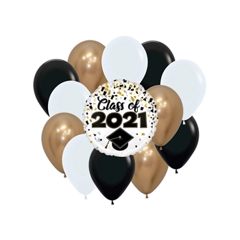 """Image de 1 GRAD COMBO - (12) HELIUM FILLED LATEX + (1) 18"""" FOIL ON WEIGHT"""