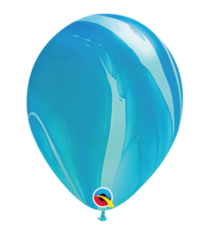 """Image de HELIUM FILLED SINGLE 11"""" BALLOON - PRINTED -  AGATE BLUE"""
