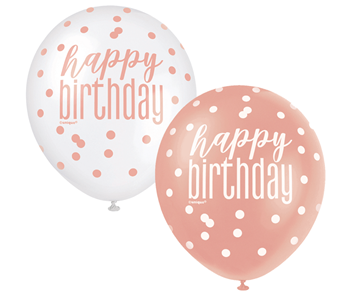 """Image de HELIUM FILLED SINGLE 11"""" BALLOON - PRINTED - HAPPY BIRTHDAY - WHITE or ROSE GOLD"""