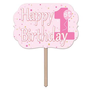 Image de DECOR - 1st BIRTHDAY YARD SIGN - PINK