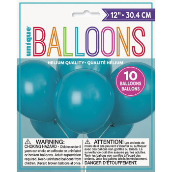"""Picture of 12"""" TEAL BALLOONS 10/pkg"""