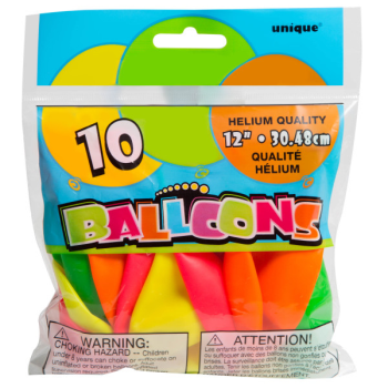 """Picture of 12"""" NEON BALLOONS 10/pkg"""
