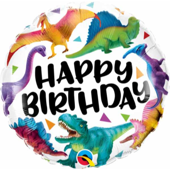 """Picture of 18"""" FOIL - COLORFUL DINOSAURS BIRTHDAY"""
