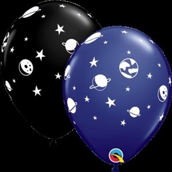 """Image de HELIUM FILLED SINGLE 11"""" BALLOON - PRINTED - SPACE"""