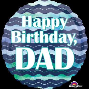 """Image de 18"""" FOIL -  DAD HAPPY BIRTHDAY - BLUES"""