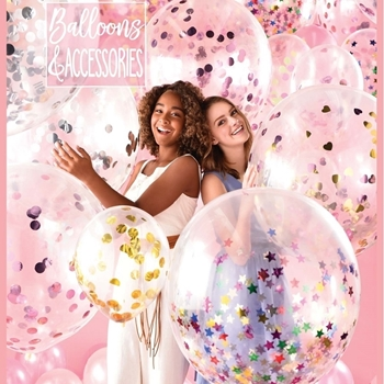 """Image de CONFETTI FILLED BALLOONS - 11"""" CLEAR LATEX (1 SCOOP)"""