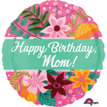 """Image de 18"""" FOIL - HAPPY BIRTHDAY MOM BOUQUET"""