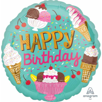 """Picture of 18"""" FOIL - HAPPY BIRTHDAY ICE CREAM PARTY"""
