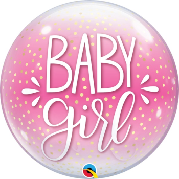 Picture of BABY GIRL CONFETTI BUBBLE BALLOON