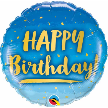 """Image de 18"""" FOIL - BIRTHDAY GOLD AND BLUE"""