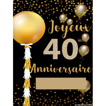 """Picture of 40th - LAWN YARD SIGN - 40TH SPARKLING """"WRITE A NAME"""" FRENCH"""