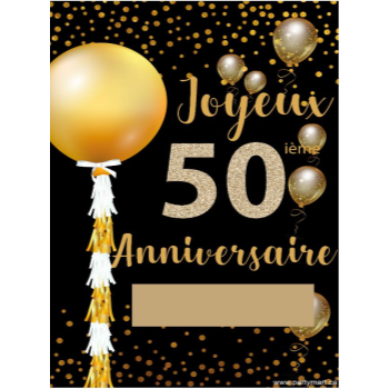 """Picture of 50th - LAWN YARD SIGN - 50TH SPARKLING """"WRITE A NAME"""" FRENCH"""
