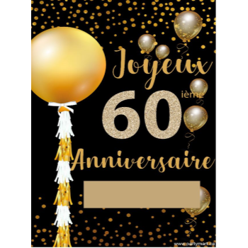 """Picture of 60th - LAWN YARD SIGN - 60TH SPARKLING """"WRITE A NAME"""" FRENCH"""