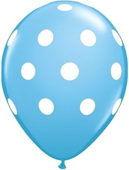 "Image de HELIUM FILLED SINGLE 11"" BALLOON - PRINTED -  GENDER REVEAL - BLUE POLKA DOTS"