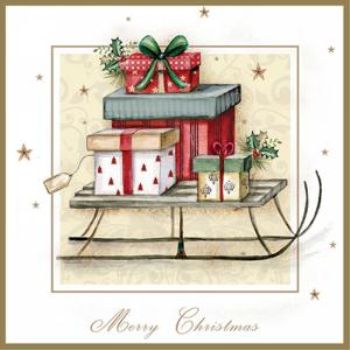 Image de TABLEWARE - PRESENTS ON A SLED LUNCHEON NAPKINS