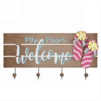 Image de DECOR - WELCOME FLIP FLOPS WALL HOOK PLAQUE