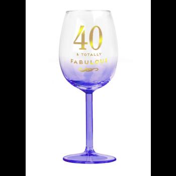 Image de 40TH WINE GLASS - TOTALLY FABULOUS LIGHT BLUE