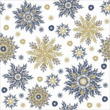 Image de TABLEWARE - SNOWFLAKES BLUE AND GOLD LUNCHEON NAPKINS