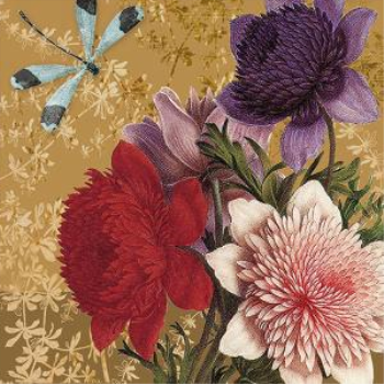 Image de FLOWERS AND DRAGONFLY - LUNCHEON NAPKINS