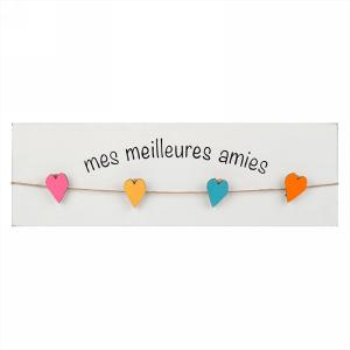 Image de WALL PLAQUE WITH HEART PINS - MY BEST FREIND